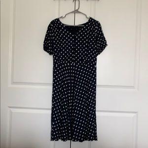 JCrew Navy and white polka dot dress